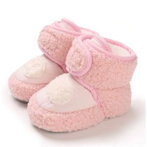 Babies warm slippers - pink / white